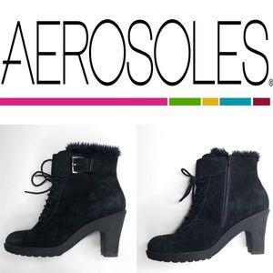 Aerosoles Black Faux Fur Booties - size 7
